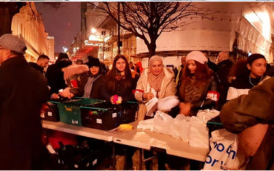 Muslim charities invite people of all backgrounds to offer food, hot drinks and friendship to homeless