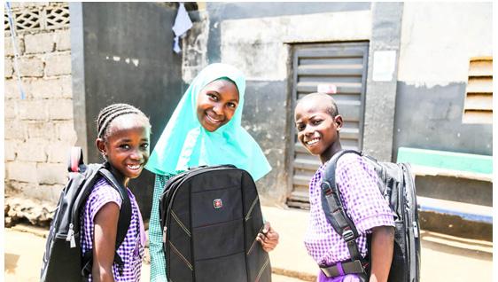 School bag distribution in Sierra Leone